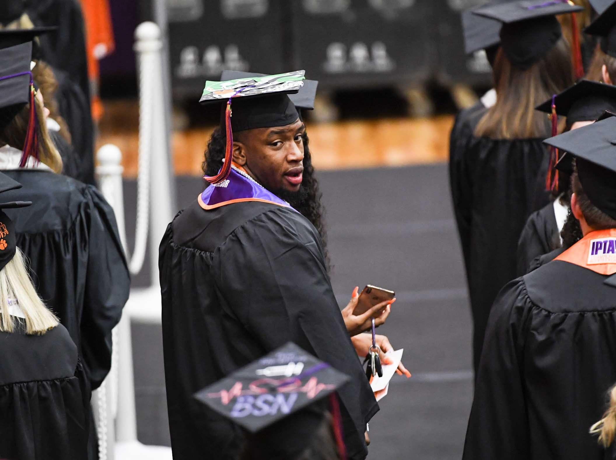 Clemson defensive lineman Clelin Ferrell during Clemson University graduation ceremony Thursday morning in Littlejohn Coliseum in Clemson.