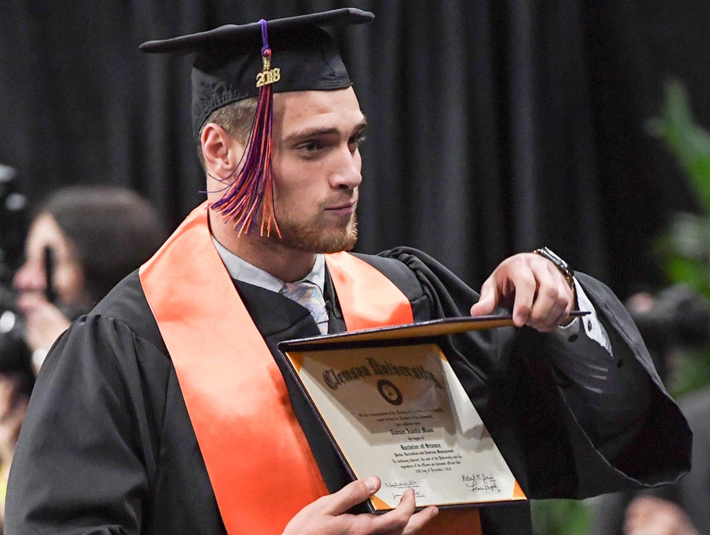 Clemson defensive back Tanner Muse during Clemson University graduation ceremony Thursday morning in Littlejohn Coliseum in Clemson.