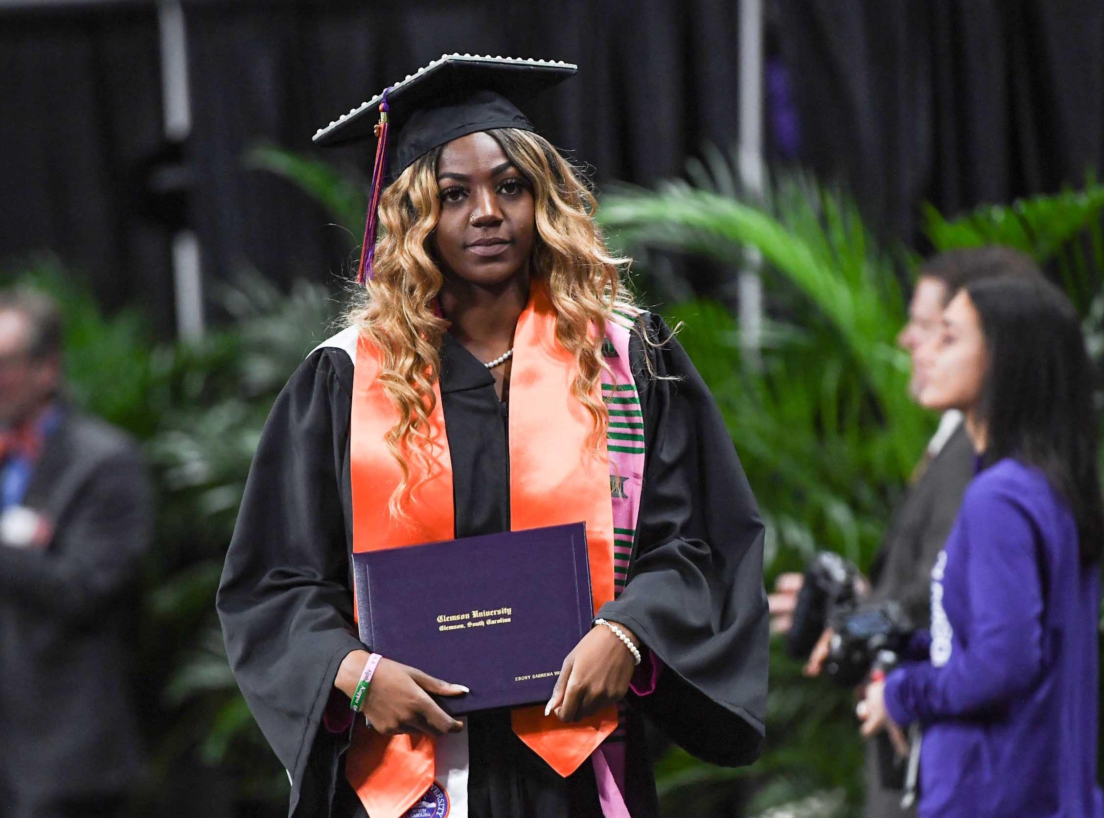 Ebony Williams during Clemson University graduation ceremony Thursday morning in Littlejohn Coliseum in Clemson.