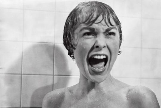 """Janet Leigh screams in an iconic scene from Alfred Hitchcock's classic """"Psycho."""" The book was based on the novel of the same name by Wisconsin author Robert Bloch."""