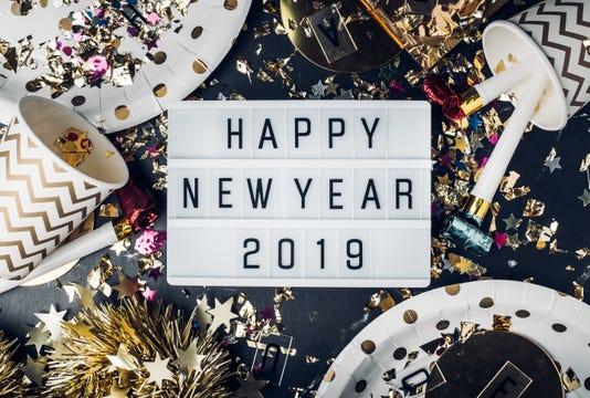 Happy New Year 2019 On Light Box With Party Cup Party Blower Tinsel Confetti Fun Celebrate Holiday Party Time Table Top View