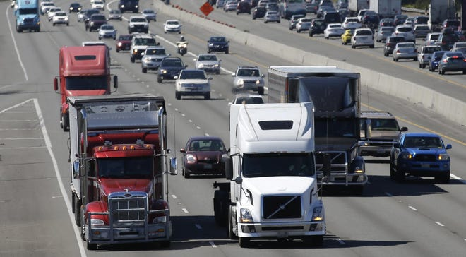 Truck drivers and motorists make their way down Interstate 41 in Outagamie County.