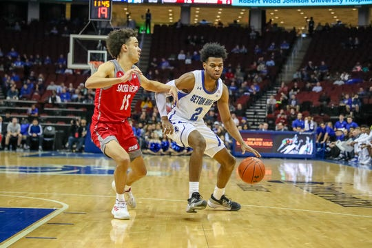 Seton Hall's Anthony Nelson handles against Sacred Heart.