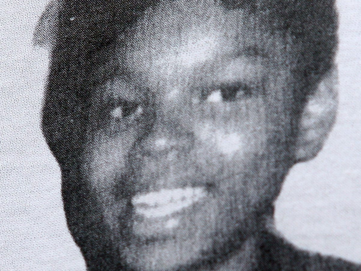 A picture of Quiana Dees taken off a shirt of a marcher during the 16th annual march to commemorate the murder of the 12-year-old in Asbury Park. 05/03/08