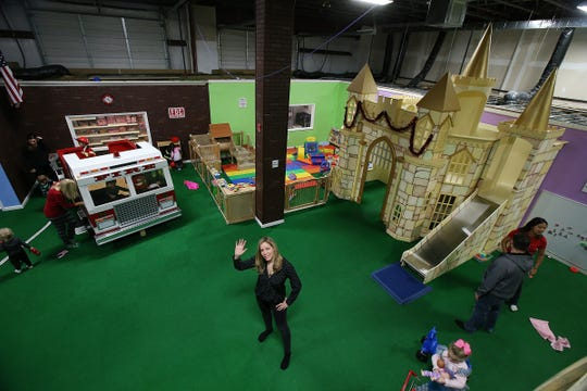 Jill Howard owner Magic Sky Play in Marlboro, a 4,500-square-foot indoor play place for kids that can be hired for parties, classes, camp trips, etc., gives a tour of the facility in Marlboro., NJ Thursday, December 20, 2018.