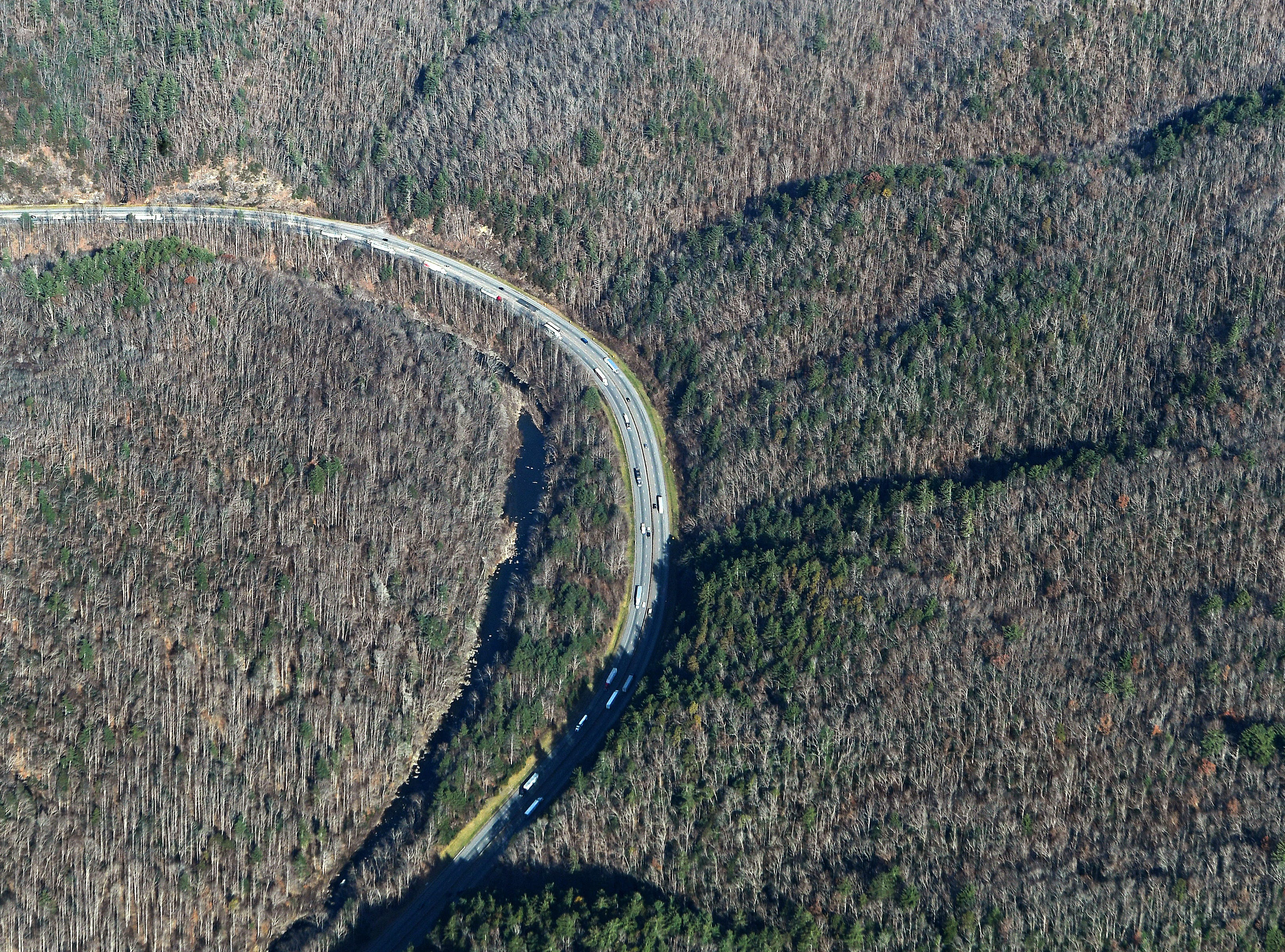 A section of I-40 along the Pigeon River is seen from the air on Dec. 6, 2018. Photo made possible by SouthWings.