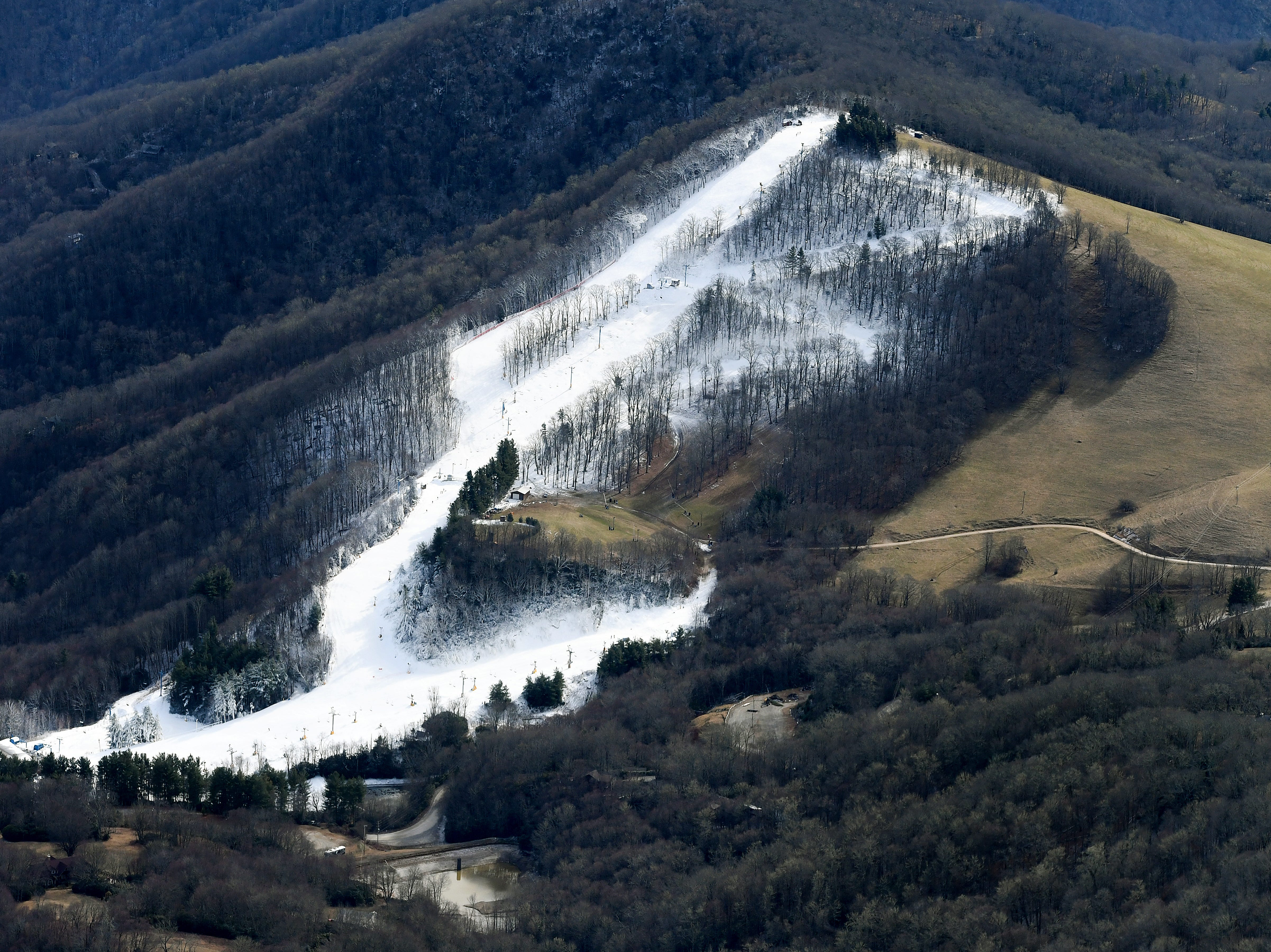 The Cataloochee Ski area is seen from the air on Dec. 6, 2018. Photo made possible by SouthWings.