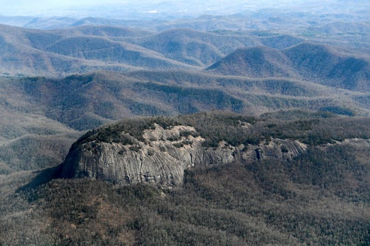Looking Glass Rock in the Pisgah National Forest is seen from the air on Dec. 6, 2018. Photo made possible by SouthWings.