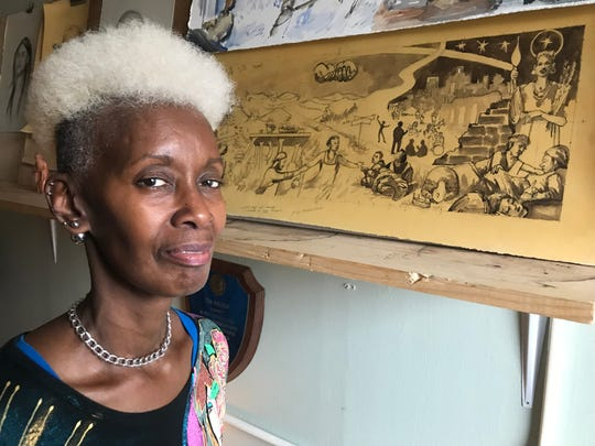 Jeanette King will be featured in the Haywood Street Congregation's new fresco, which should be completed in late summer 2019. King, 62, is represented on the right side of this sketch of the fresco, the woman holding the light and flowers.