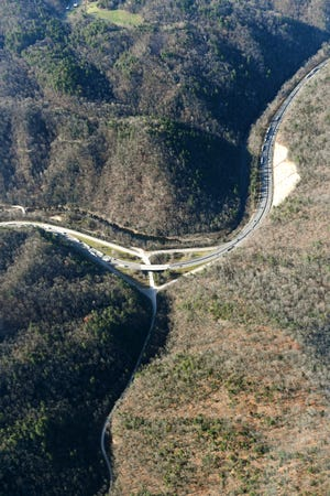 Harmon Den, exit 7, on I-40 is seen from the air on Dec. 6, 2018. Photo made possible by SouthWings.