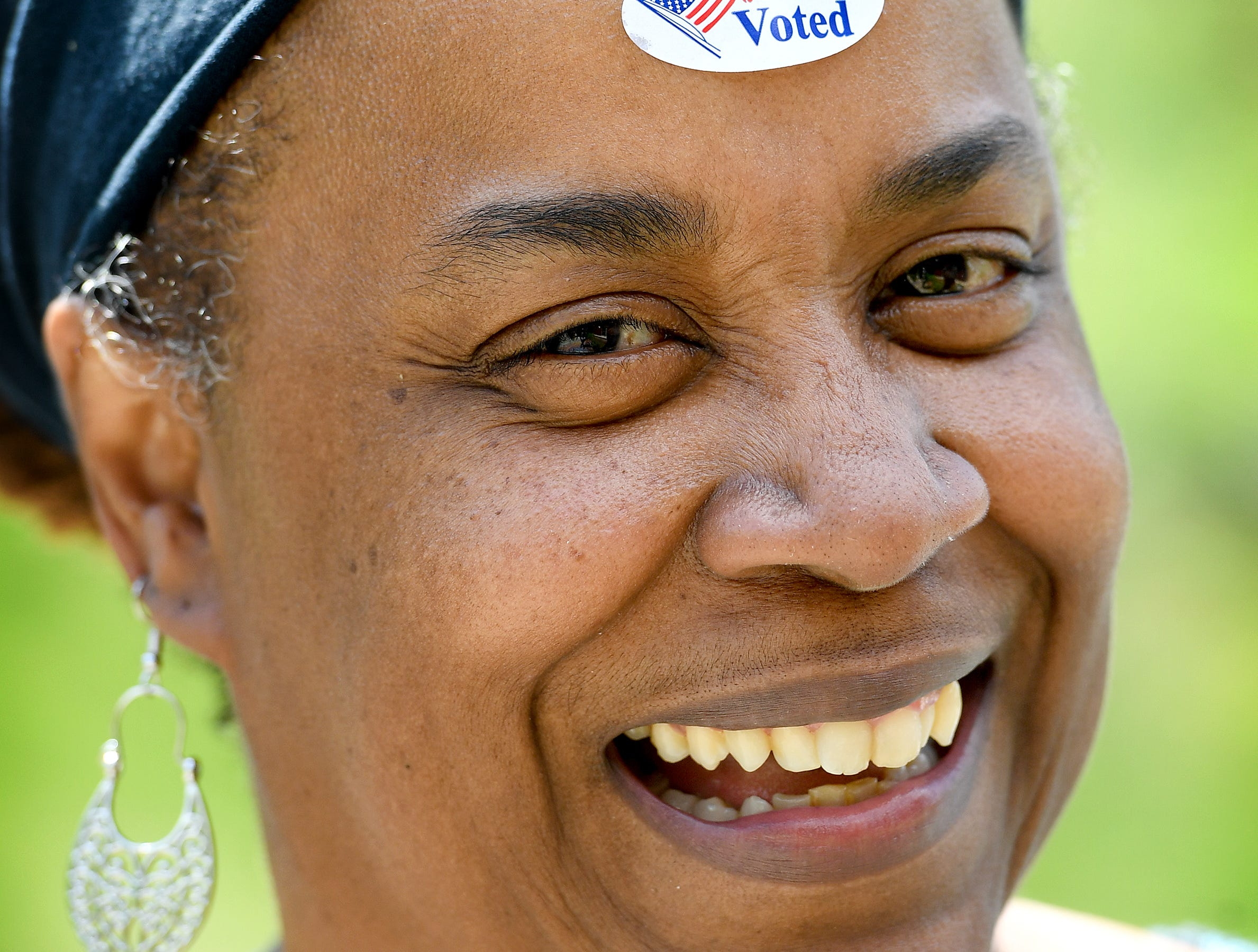 """""""I'm a voting superhero, they just haven't given me my cape yet,"""" MaRita Alexander joked as she wore her """"I Voted"""" sticker on her forehead after casting her ballot in the primary election at the Dr. Wesley Grant, Sr. Southside Center on Tuesday, May 8, 2018."""