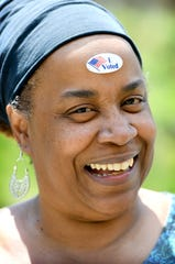 """I'm a voting superhero, they just haven't given me my cape yet,"" MaRita Alexander joked as she wore her ""I Voted"" sticker on her forehead after casting her ballot in the primary election at the Dr. Wesley Grant, Sr. Southside Center on Tuesday, May 8, 2018."