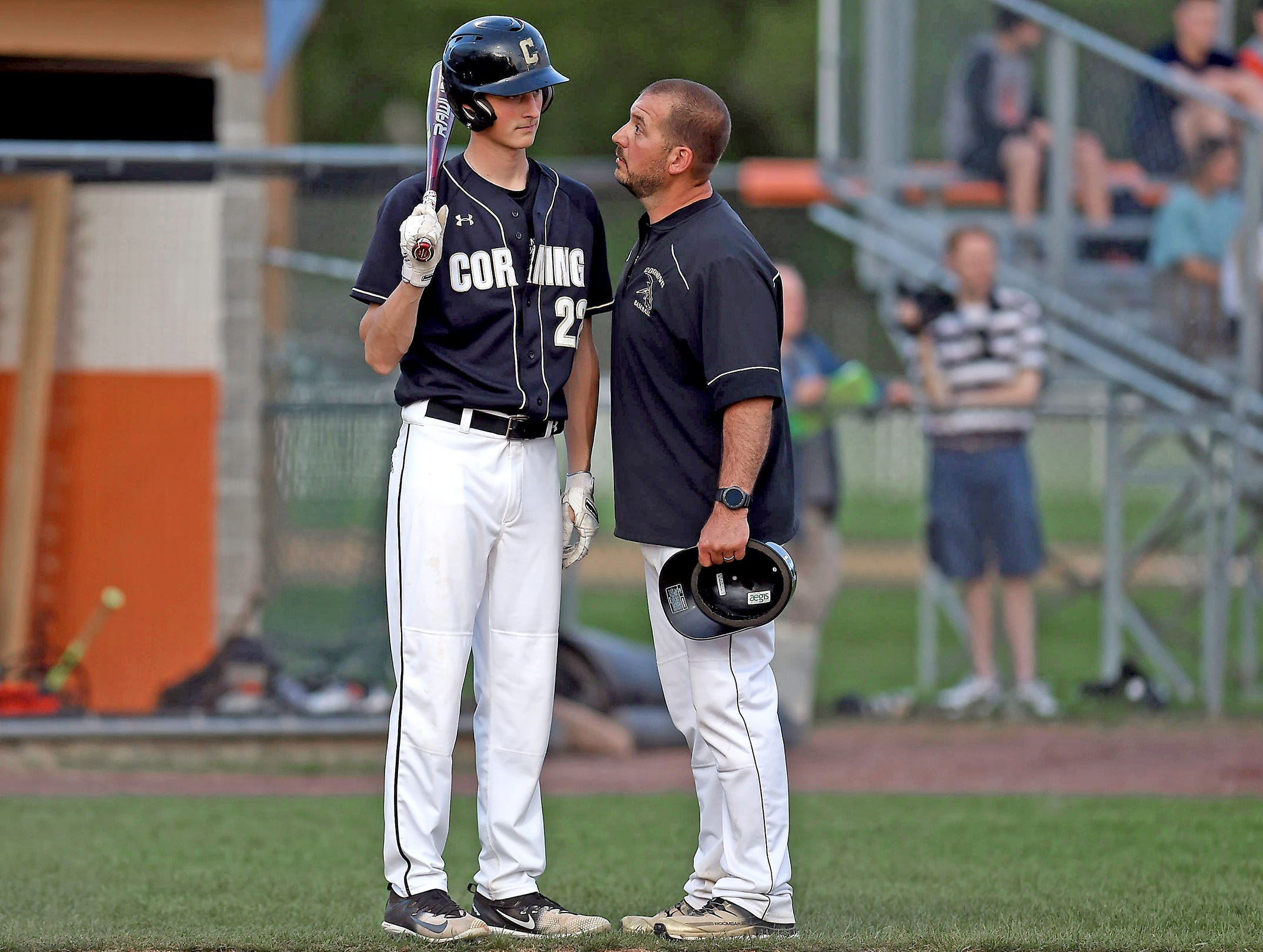 Corning's Kellan Beall (22) and head coach Eric Kizis, STAC high school baseball final, Corning at Union-Endicott, May 14, 2018.