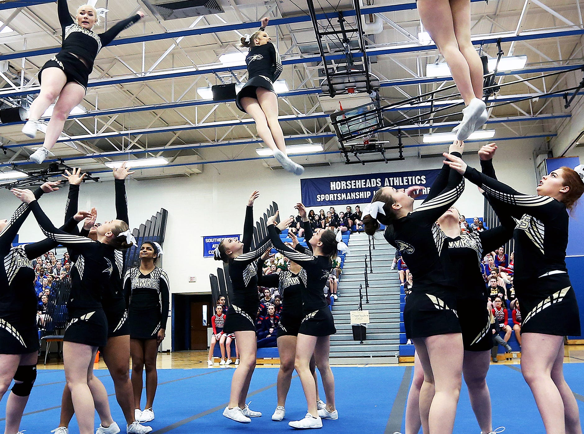 Johnson City cheerleaders, Winter 2018 STAC Cheerleading Competition, February 17, 2018, at Horseheads Middle School.
