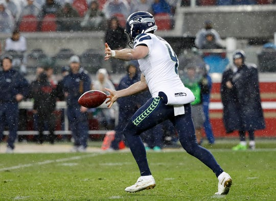 Michael Dickson punts against the San Francisco 49ers on Sunday. Dickson, a rookie, was named to the Pro Bowl on Tuesday.