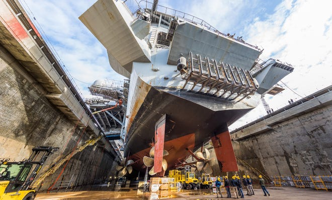 The USS Nimitz in dry dock this year.