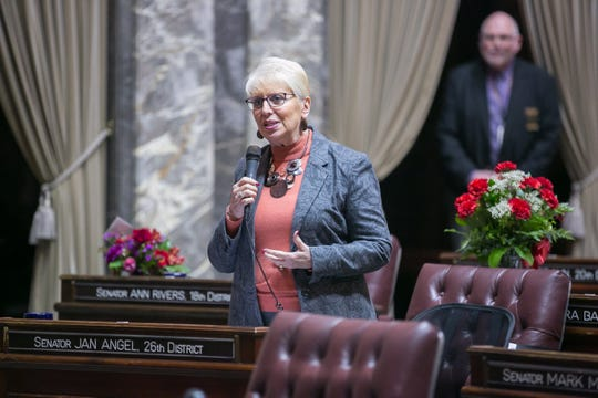 Sen. Jan Angel. R-Port Orchard, has the floor as the Washington State Senate meets in February.