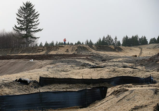 A person moves along the ridge of the Stetson Heights  development in Port Orchard on Thursday, December 20, 2018.