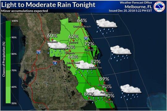 Rain chances for Thursday evening.