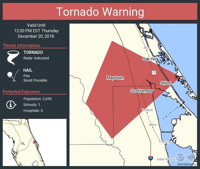 Tornado warning issued for northwestern Brevard County.