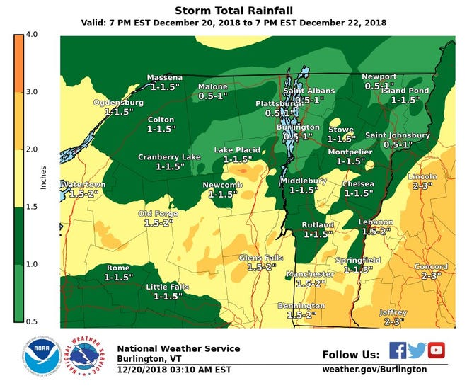 A map from National Weather Service in Burlington shows how much rainfall Vermont and New York could see from Thursday through Saturday before Christmas.