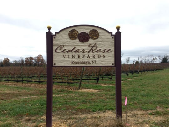 The sign at the new Cedar Rose winery.