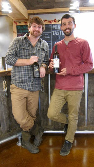 Dustin Tarpine and Steven Becker are owners of Cedar Rose Vineyards in Rosenhayn.
