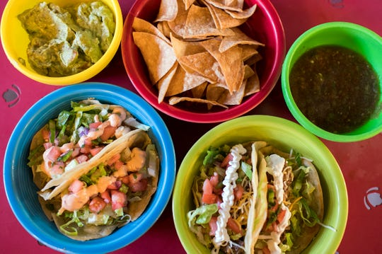 Shrimp tacos, brisket tacos, chips, salsa and guacamole from Ma & Pa's Tex-Mex BBQ in Mount Laurel, N.J.