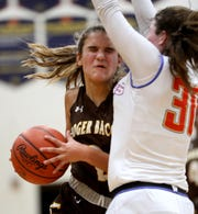 Roger Bacon guard Kylee Sheppard drives to the basket.