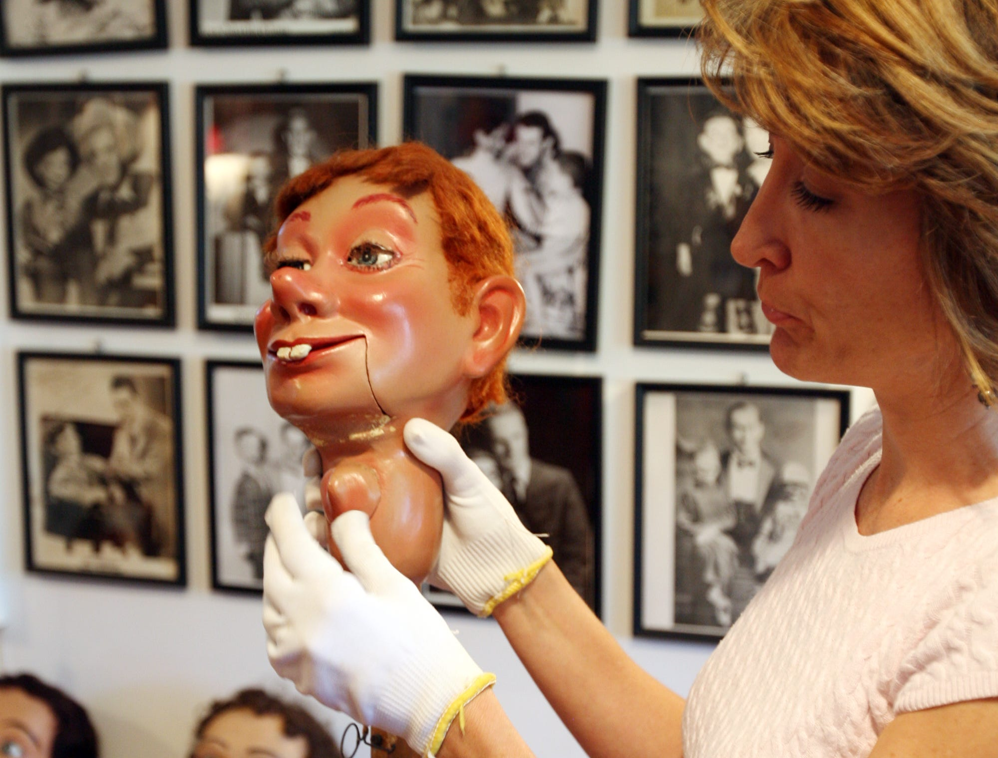Lisa Sweasy, curator at Vent Haven  Museum, showed how the dolls worked. Vent Haven Museum, the world's only museum of ventriloquial figures and memorabilia in Fort Mitchell, Kentucky.