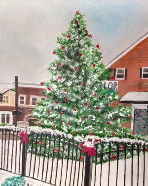 This oil painting by Gerry Hounchell won the city of Montgomery's Christmas card contest.