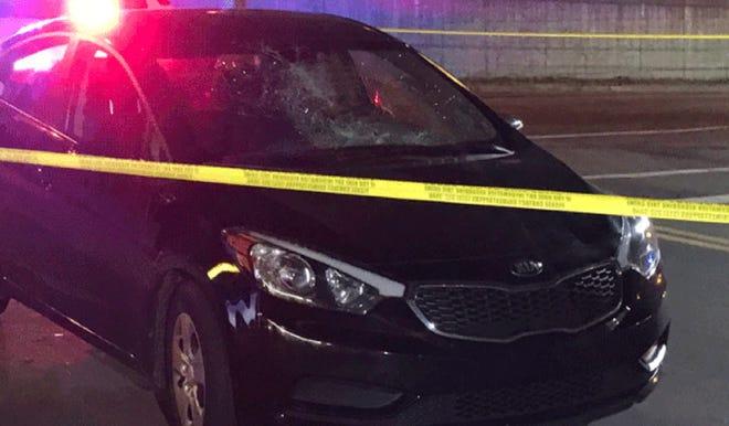 The windshield of the striking vehicle is heavily damaged, Cincinnati police said.