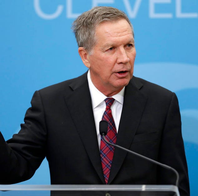 Ohio Gov. John Kasich speaks at The City Club of Cleveland, Tuesday, Dec. 4, 2018, in Cleveland. (AP Photo/Tony Dejak)