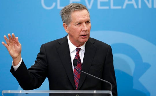 Former Ohio Gov. John Kasich speaks at The City Club of Cleveland, Tuesday, Dec. 4, 2018, in Cleveland. (AP Photo/Tony Dejak)