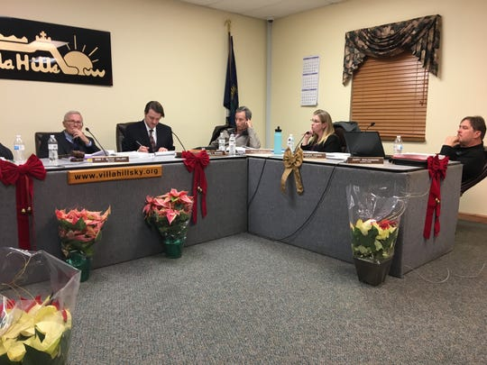 Villa Hills Mayor Butch Callery, City Administrator/Clerk Craig Bohman and councilmembers Scott Ringo, Jennifer Vaden and Gary Waugaman debate a contract for Bohman at the last meeting Dec. 19, 2018, before a new council and mayor take over in January 2019.
