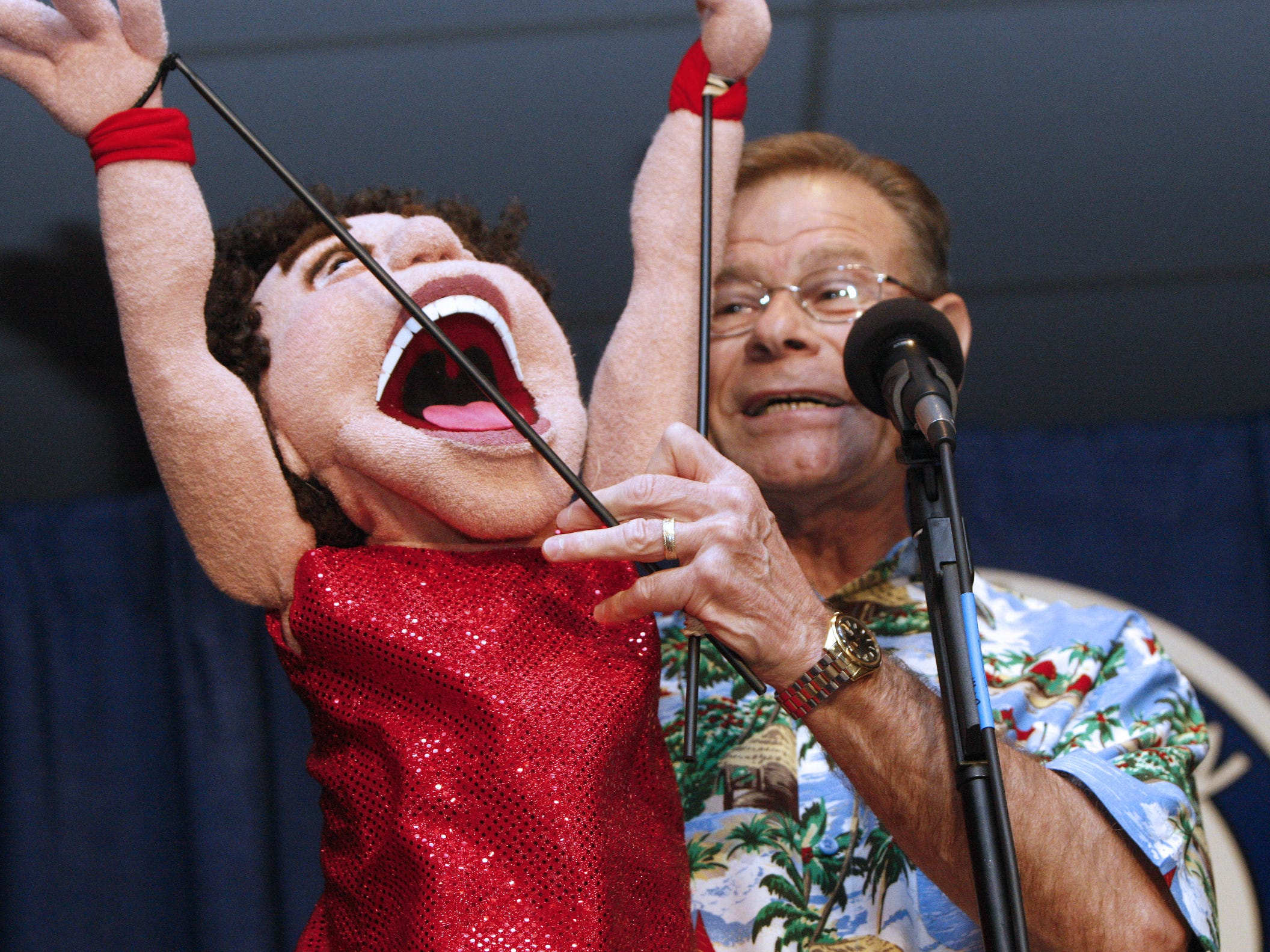 """Rick Berger of Boonton, New Jersey, performs with his puppet """"Richard Slimmons"""" at the annual Vent Haven ventriloquist convetion at the Drawbridge Inn, July 16, 2009."""