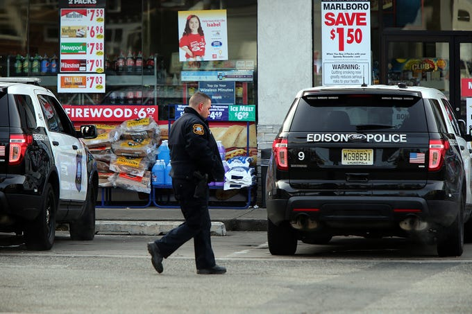 Edison police on the scene of a fatal shooting at the Speedway Gas Station on Amboy Avenue Thursday.