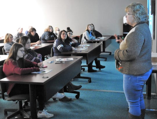 Lisa Scott, career consultant with Coshocton County Job and Family Services, addresses a classroom of students from the Coshocton County Career Center on their next steps after graduation. She discussed services they offered, the importance of social media, what employers are working for and development of soft skills.