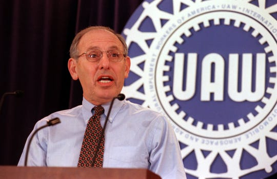 UAW President Stephen Yokich at Solidarity House in Detroit in April 2001.