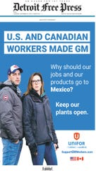 On Thursday, Dec. 20,  2018, Unifor ran a newspaper ad in the Detroit Free Press slamming GM, citing a lack of loyalty.