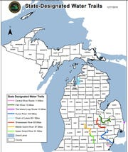 Eight waterways totaling 540-plus miles that flow through more than a dozen counties have been selected as the first state-designated water trails in Michigan.