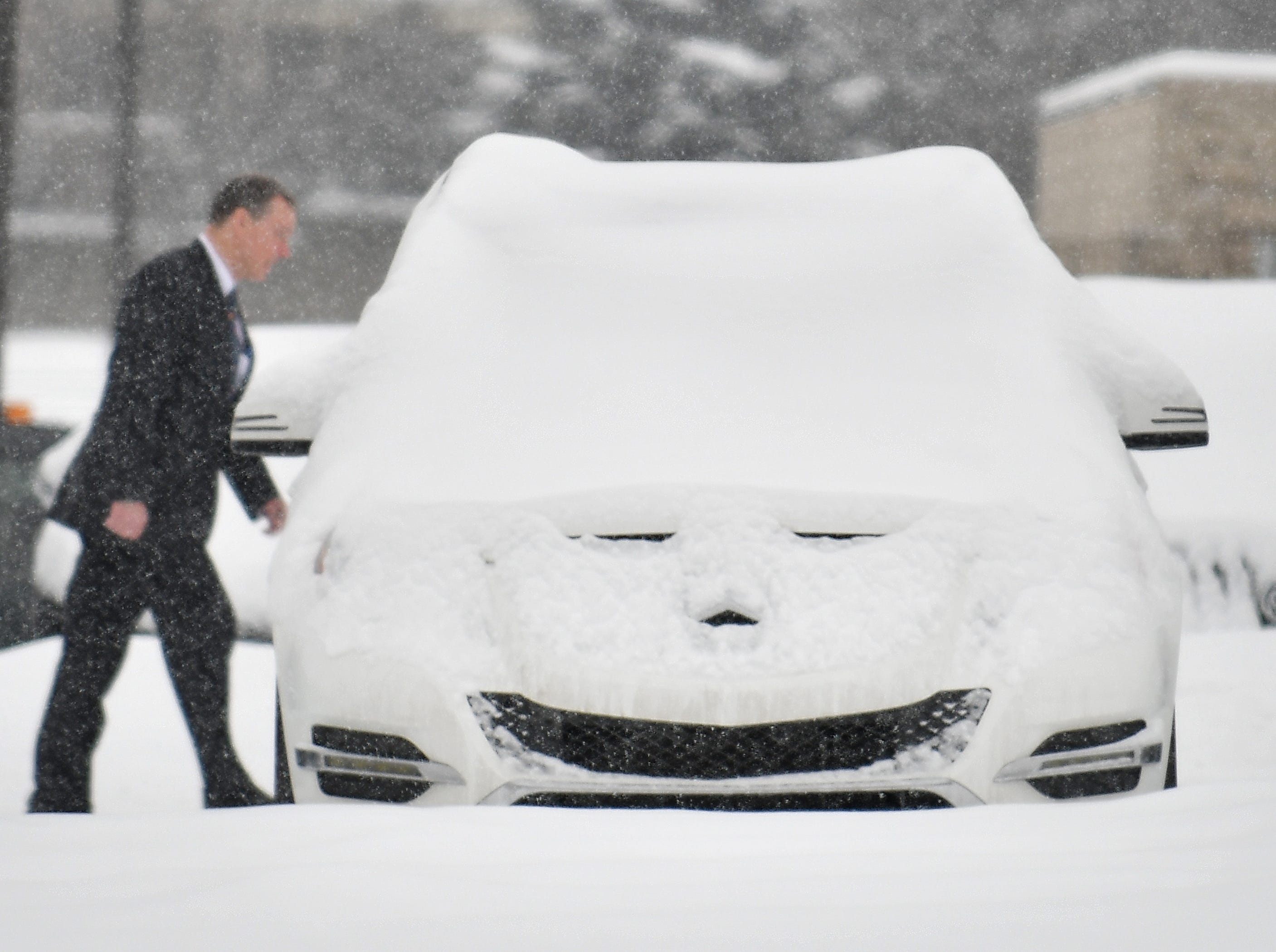 A Mercedes GLK 350 puts on a happy face at Mercedes-Benz of Rochester on February 9, 2018.