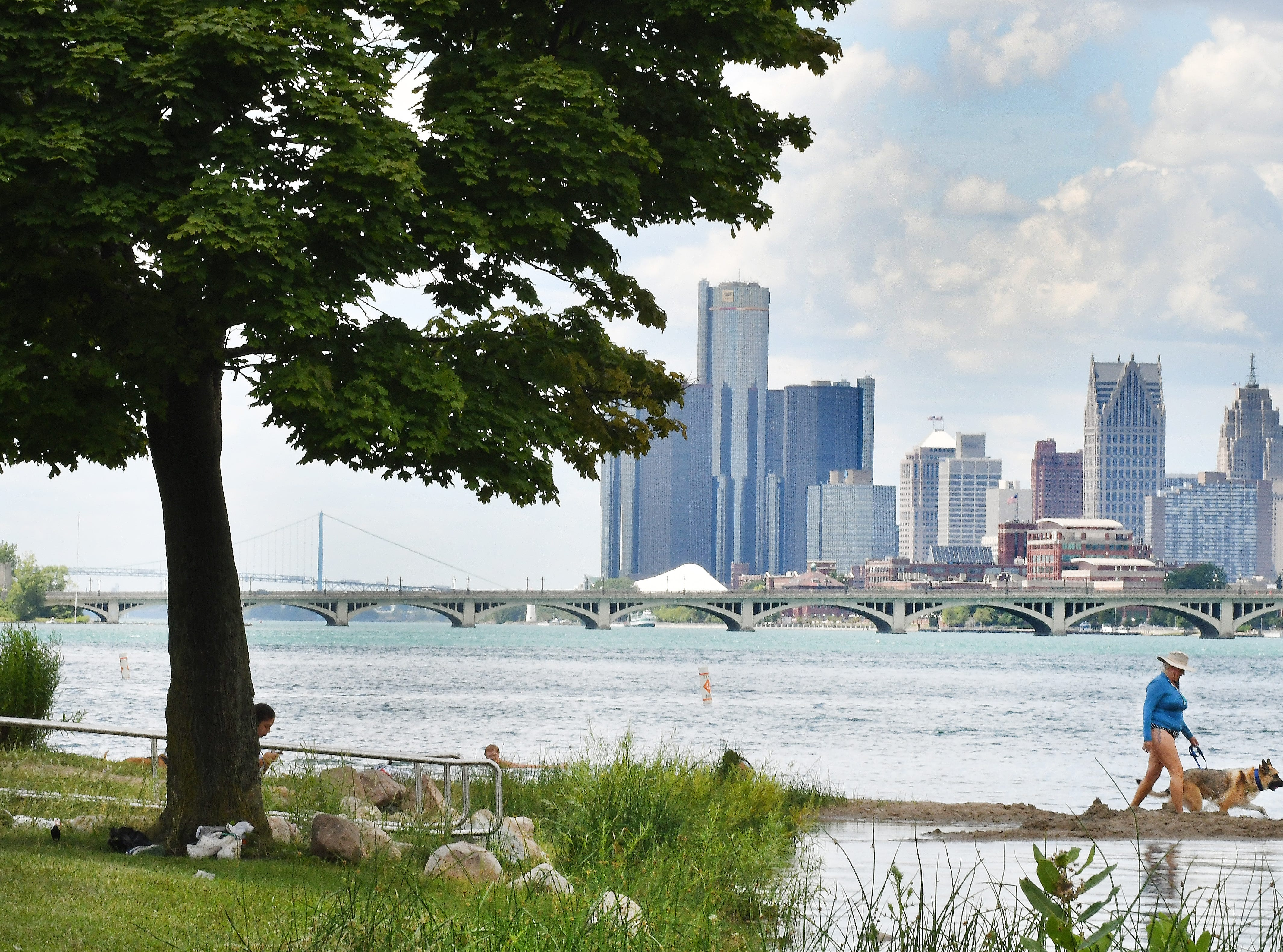 Michigan-born Laura Che, visiting from California, enjoys the cool water with her dog Stella at Belle Isle, with the Detroit skyline in the background, on July 17, 2018.