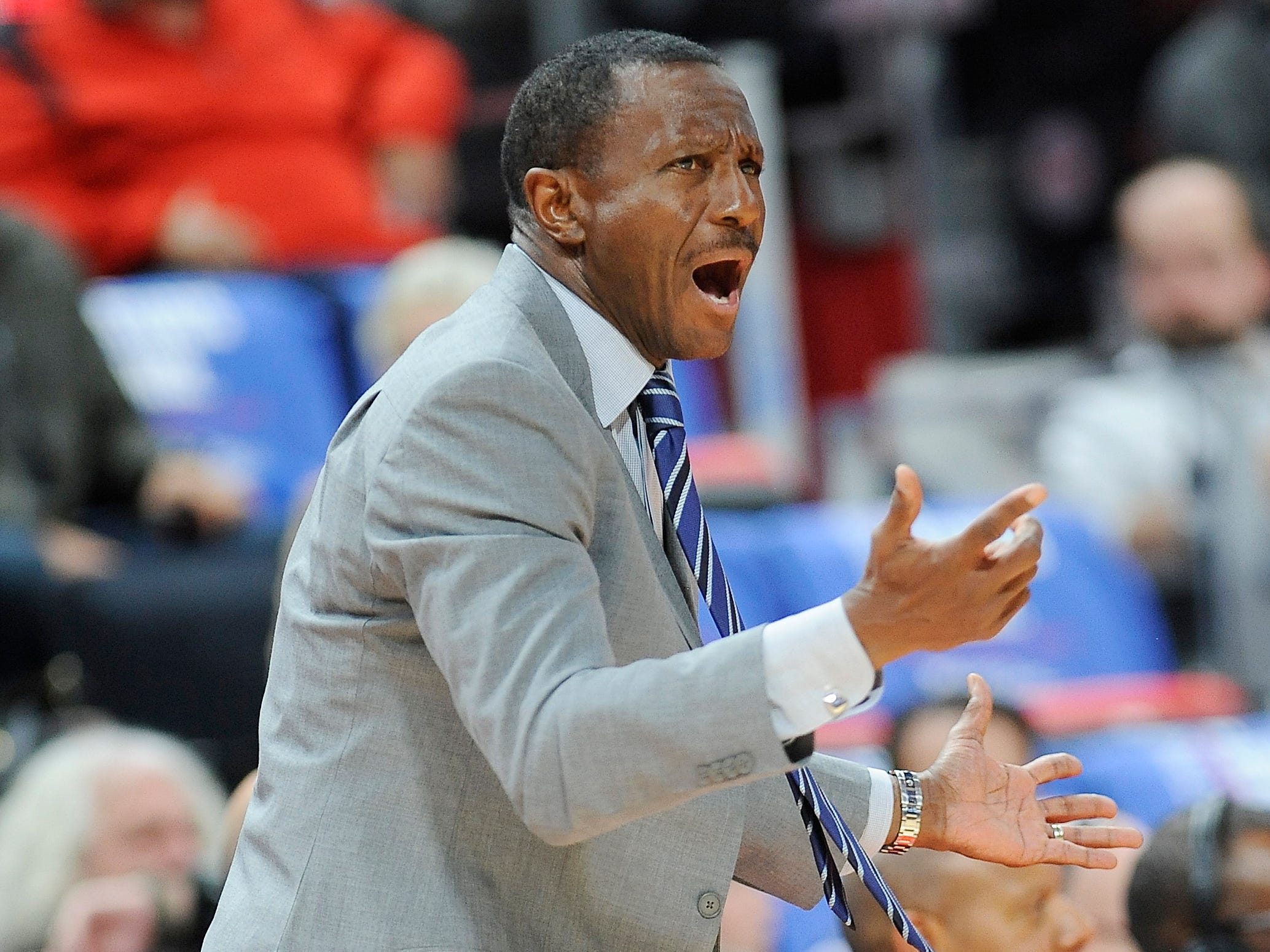Detroit Pistons new head coach Dwane Casey shouts insrtuctions to his team during a 103-100 season-opening victory over the Brooklyn Nets at Little Caesars Arena in Detroit on October 17, 2018.