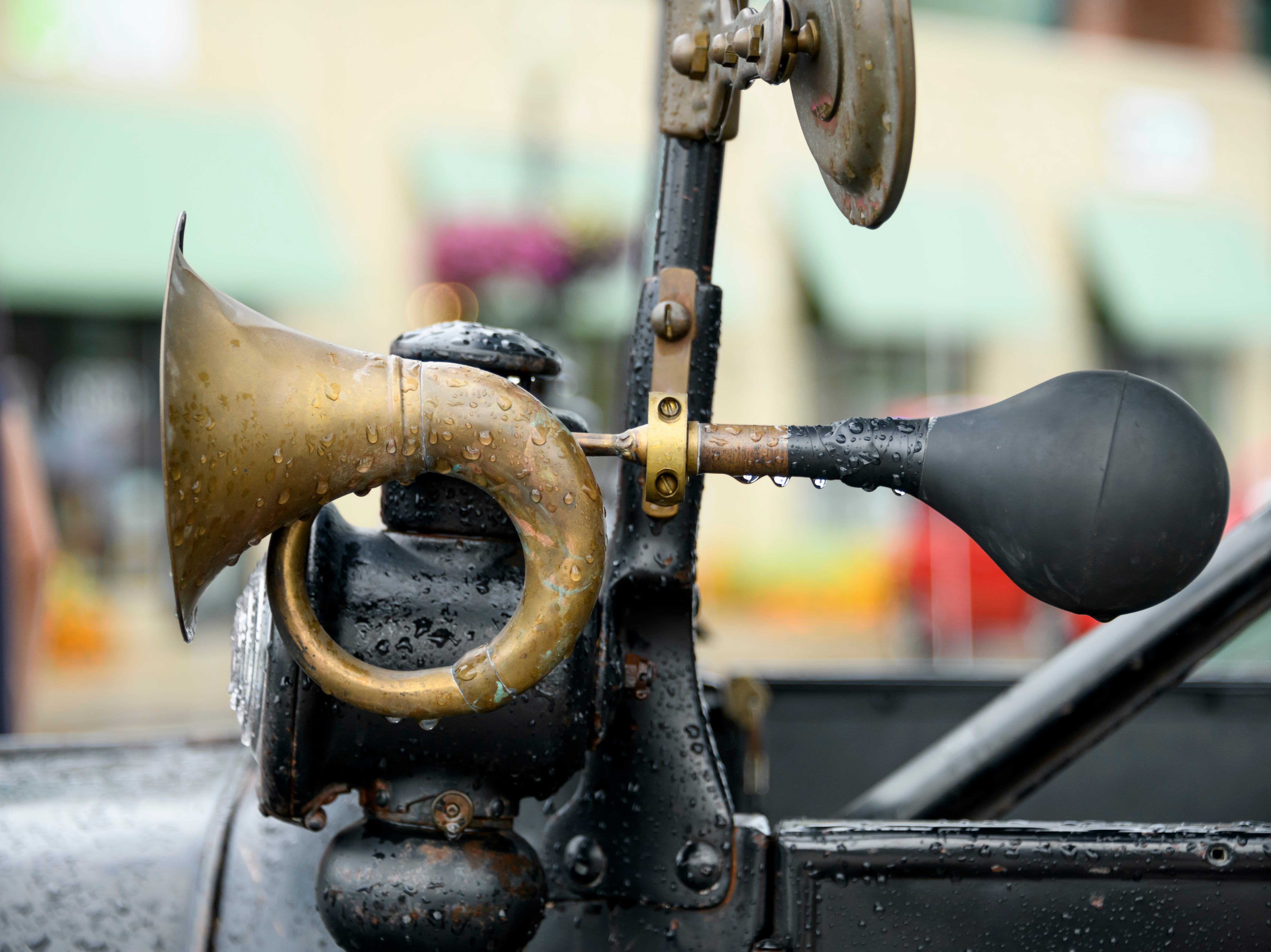 The horn of a 1919 Ford Model T owned by Brian Dowell, of St. Clair, has a steampunk vibe in the 18th annual Ferndale emergency vehicle parade, August 16, 2018.