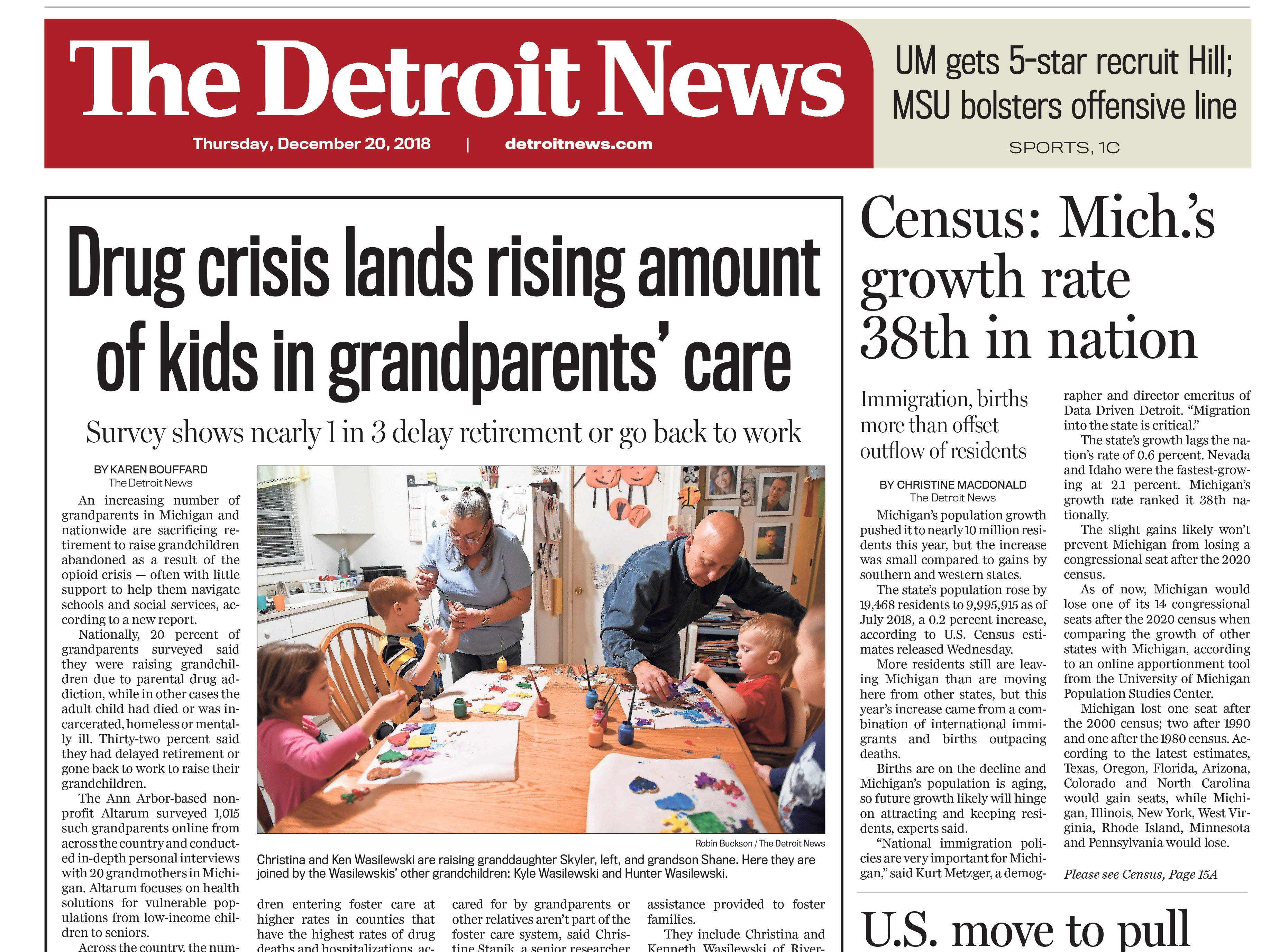 The front page of the Detroit News on Thursday, December 20, 2018.