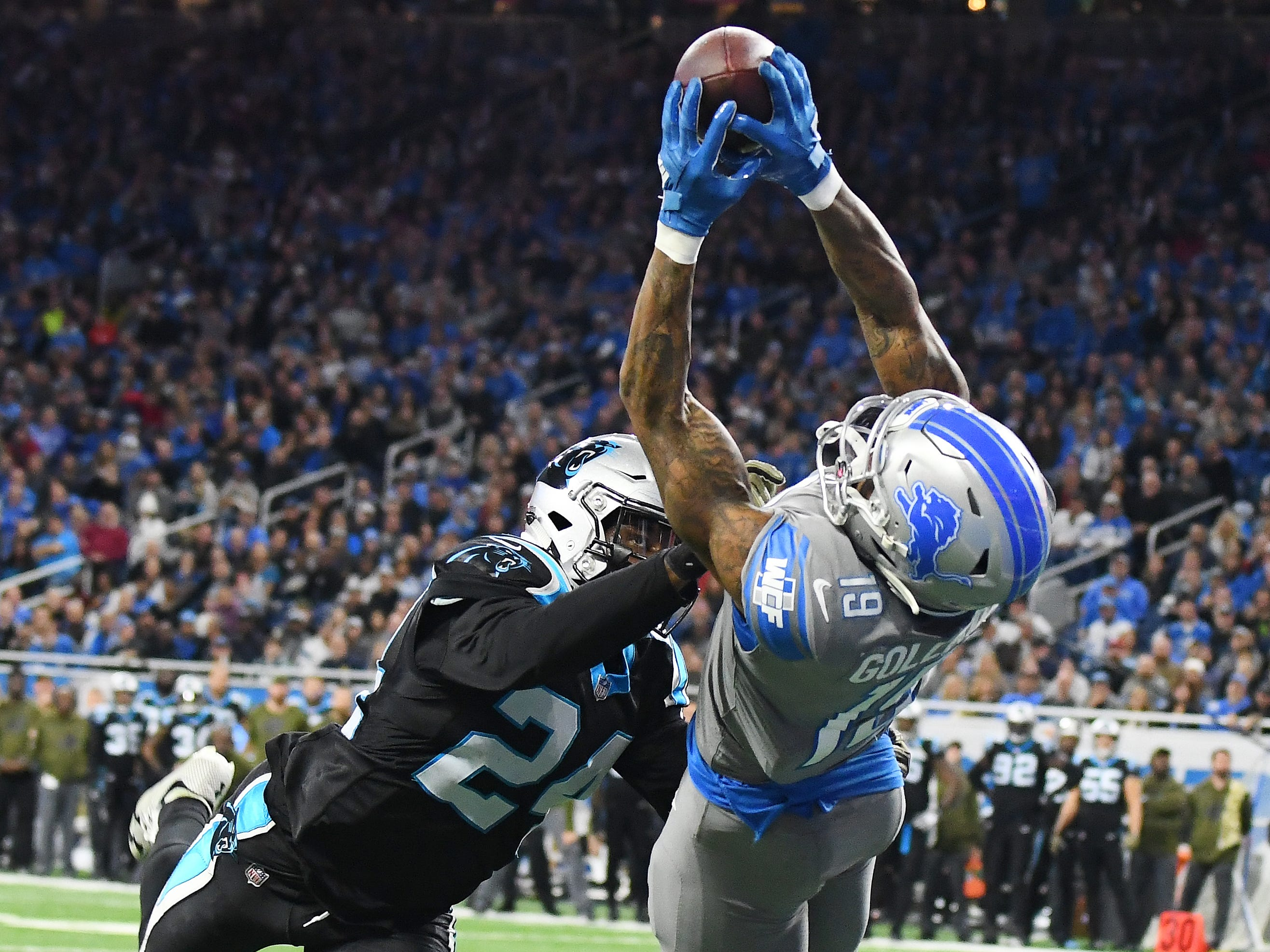 Lions wide receiver Kenny Golladay makes the game winning touchdown catch in front of Carolina Panthers cornerback James Bradberry late in the fourth quarter of a 20-19 victory at Ford Field in Detroit on November 18, 2018.