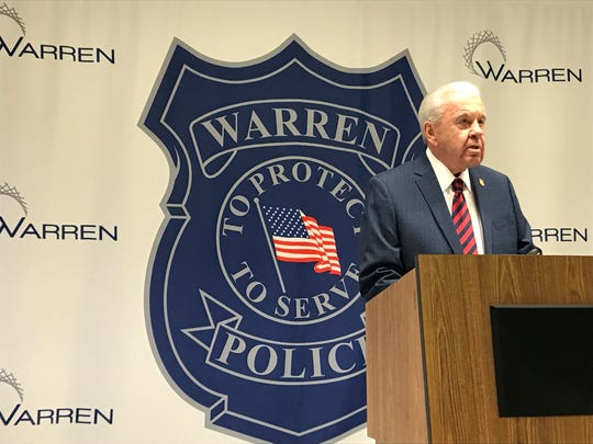 Warren police Commissioner William Dwyer addresses media members Dec. 20, 2018, about the slaying of a 68-year-old Warren woman.