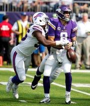 Vikings quarterback Kirk Cousins (8), a former Michigan State star, has 17 turnovers this season, including seven fumbles.