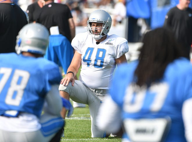 Lions long snapper Don Muhlbach missed Thursday's practice with a calf injury.